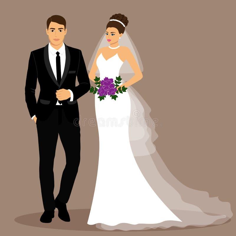 新娘仪式教会新郎婚礼 夫妇 库存例证