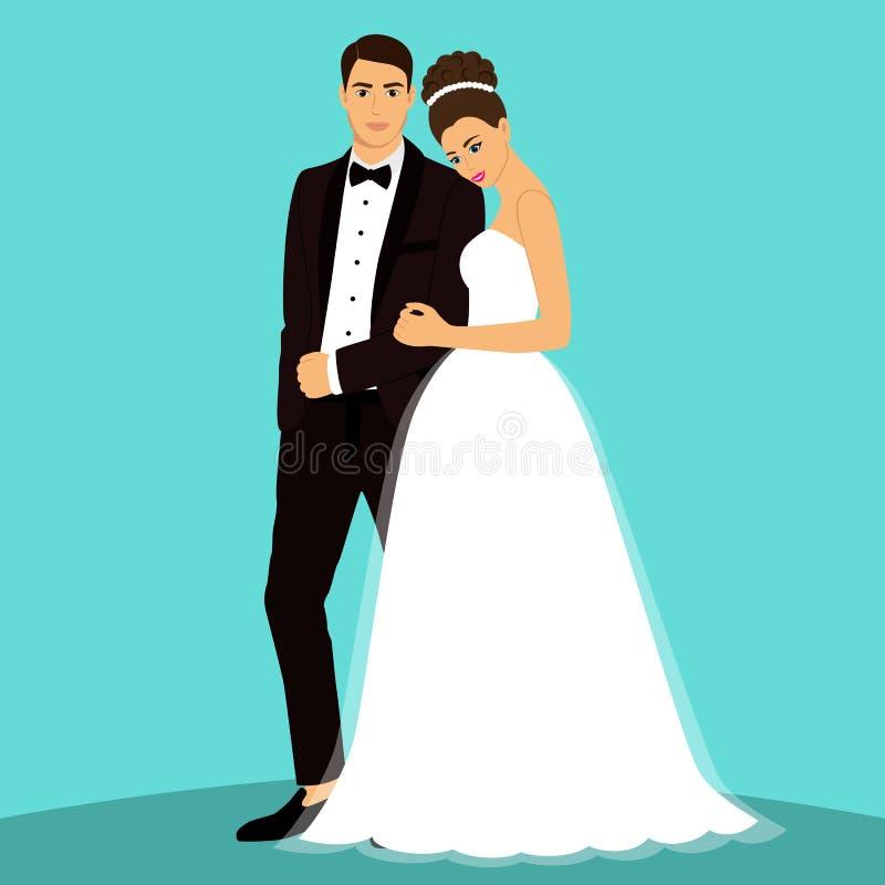 新娘仪式教会新郎婚礼 向量例证
