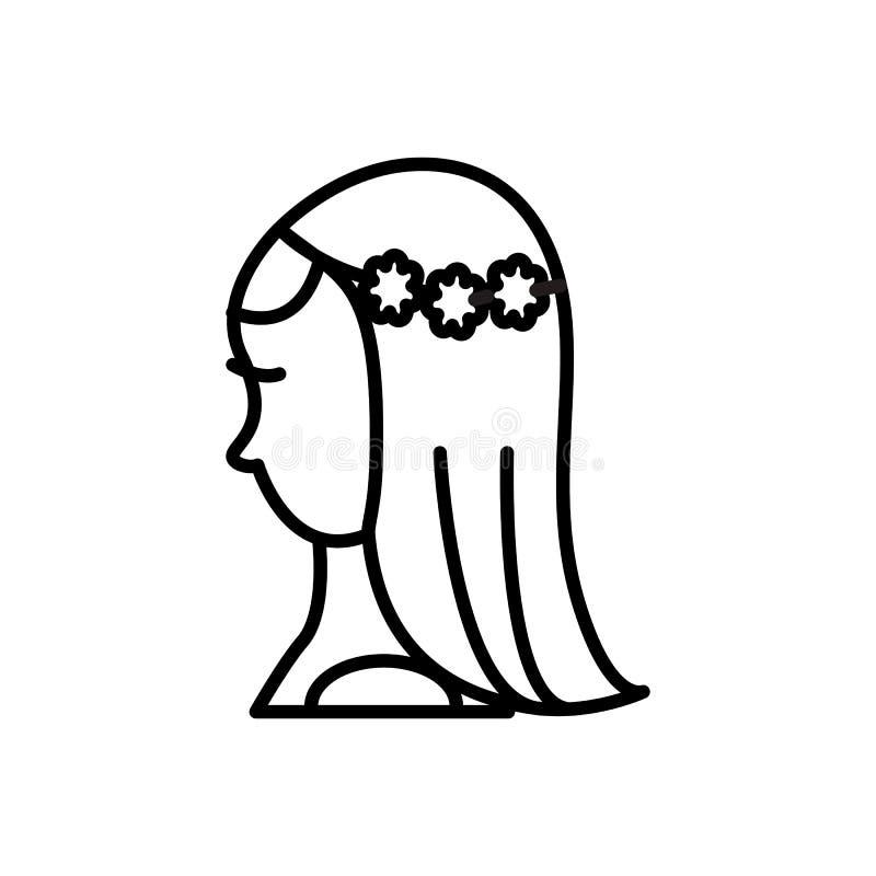 新娘传染媒介线象,标志,在背景,编辑可能的冲程的例证 向量例证