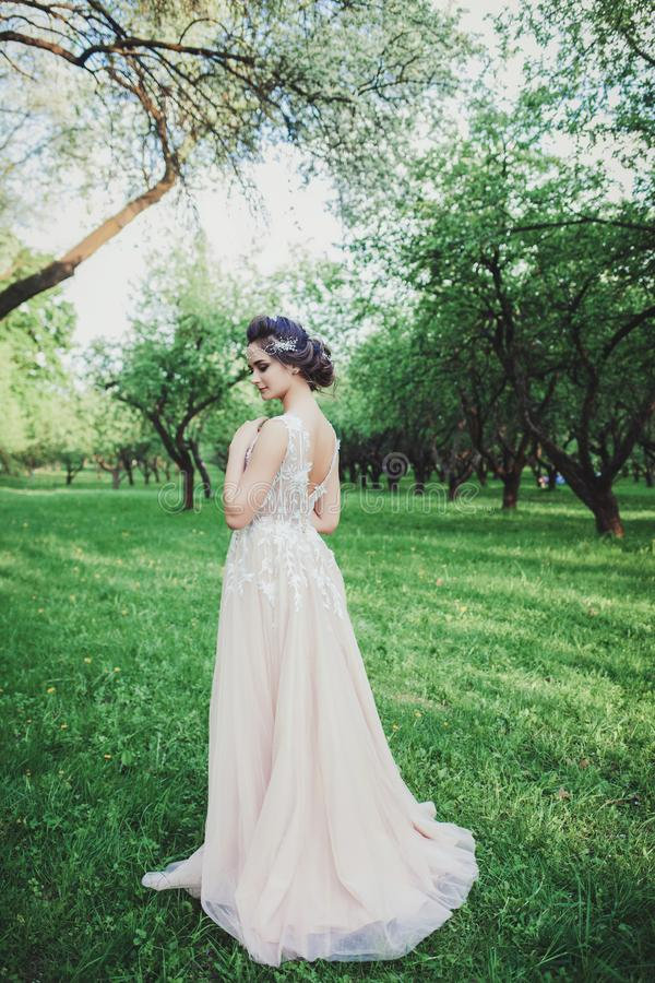 新娘佩带的时尚婚礼礼服 免版税库存照片