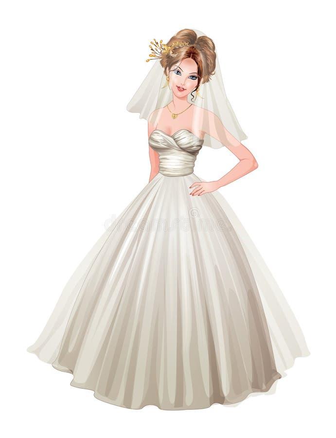 新娘例证以在白色褂子的格式 库存照片