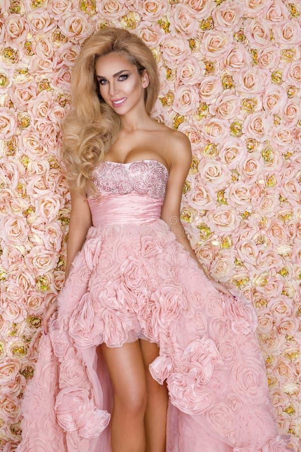 新娘公主,桃红色婚纱的 美丽的年轻女人-图象 免版税图库摄影