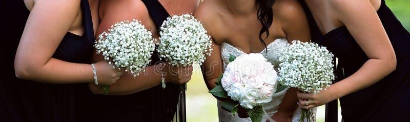 新娘和她的女傧相党在婚礼前 库存图片