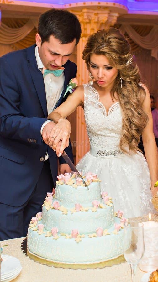 新娘和新郎切他们的婚宴喜饼 免版税库存图片