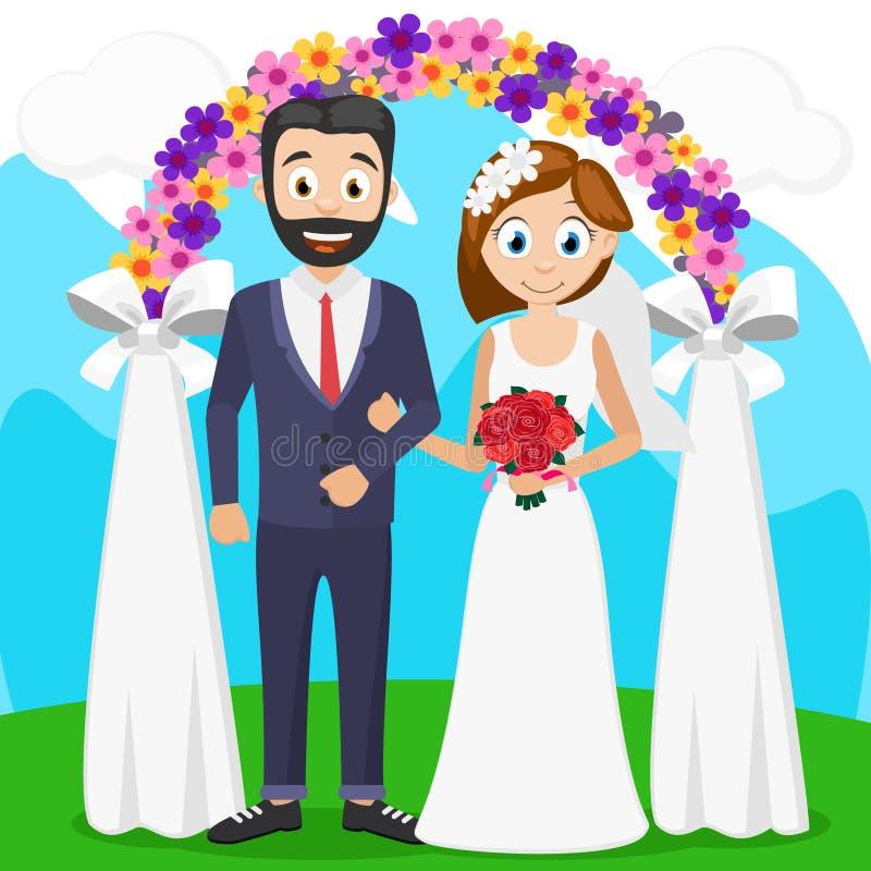 新娘和新郎在仪式在曲拱附近 婚姻 向量例证