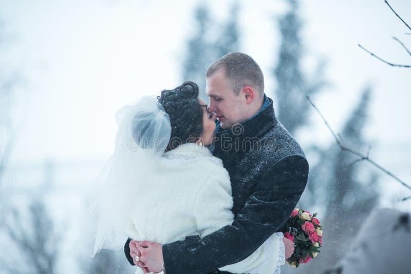 新娘和新郎在冬天城市的背景 免版税库存图片