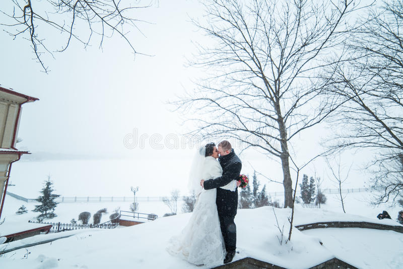 新娘和新郎在冬天城市的背景 库存照片