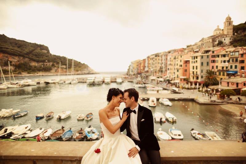 新娘和新郎在口岸附近在他们的婚礼之日 免版税图库摄影