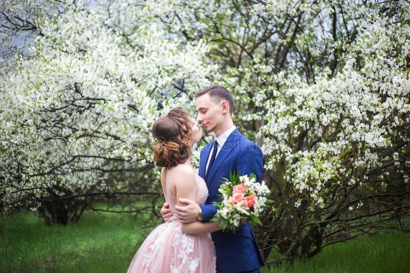 新娘和新郎在婚礼礼服反对开花的庭院背景  免版税库存照片