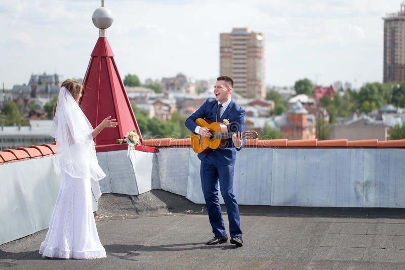 新娘和新郎在屋顶 图库摄影