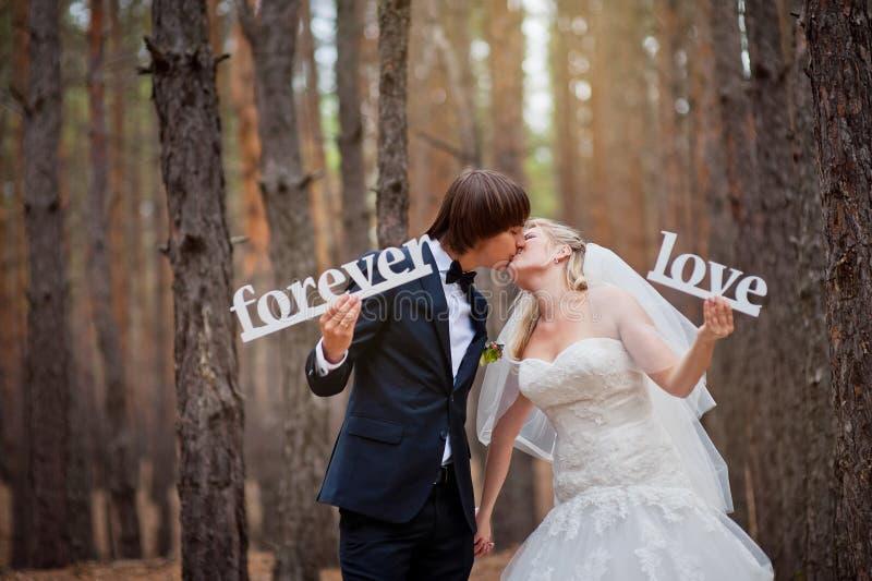 新娘和新郎在森林里 免版税库存图片
