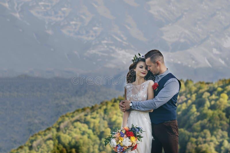 新娘和新郎在背景中享受登上敞篷看法从这个高海拔酿酒厂葡萄园 库存照片