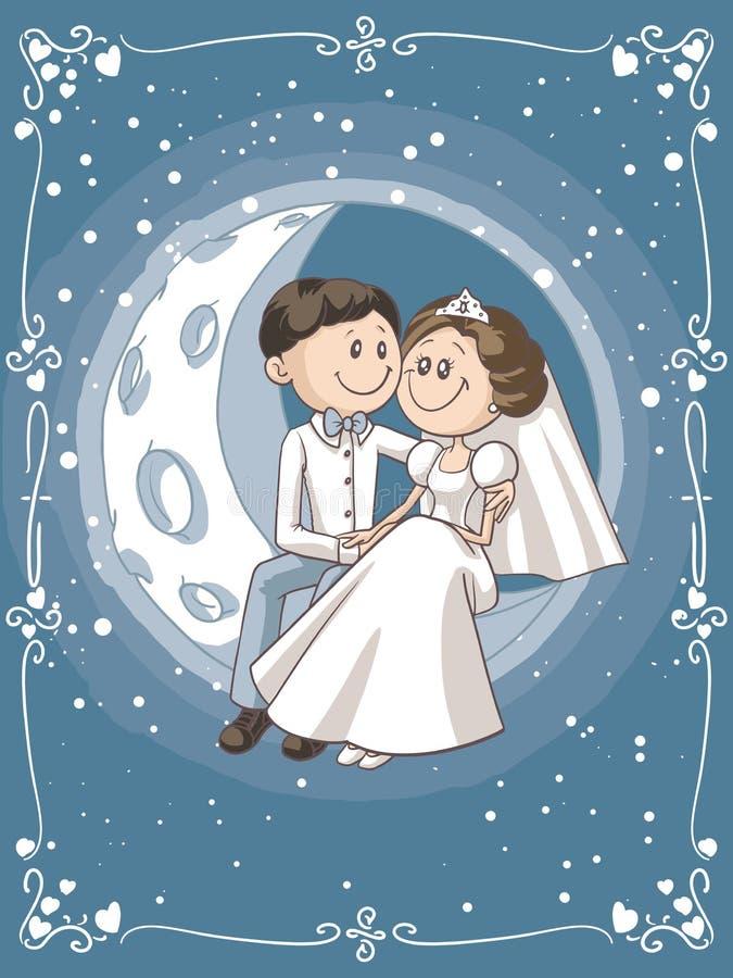 新娘和新郎坐月亮传染媒介动画片 库存例证