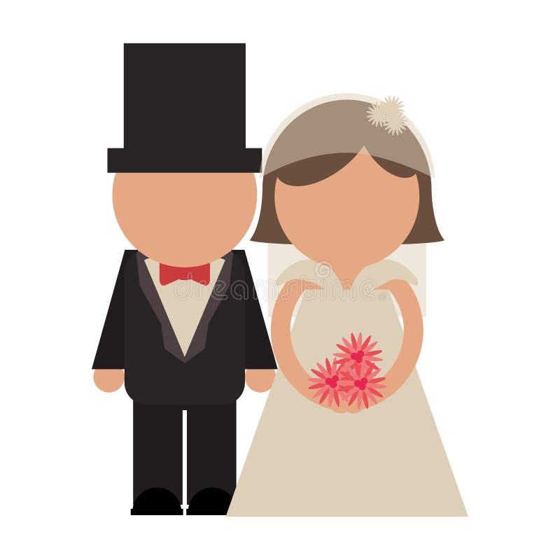 新娘和新郎夫妇具体化 库存例证