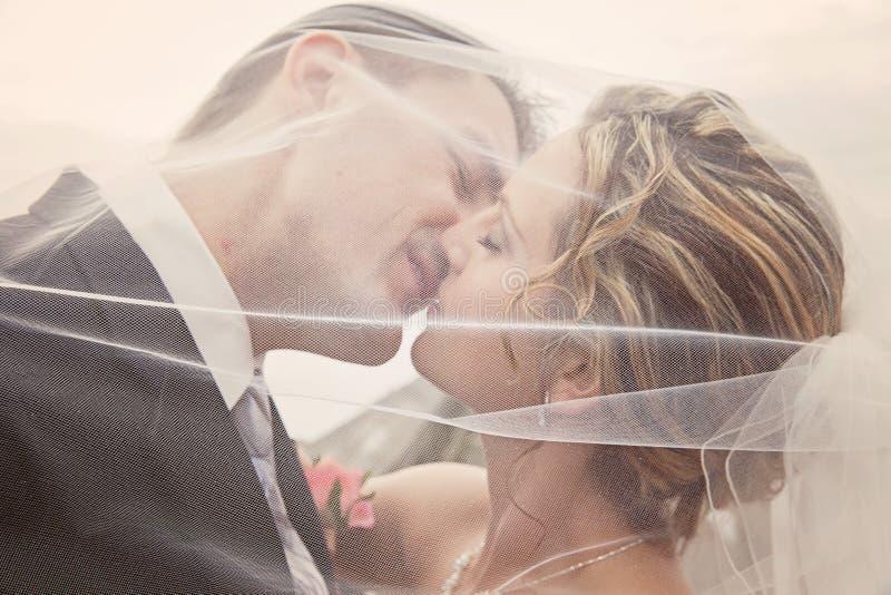 新娘和新郎浪漫史 免版税库存照片