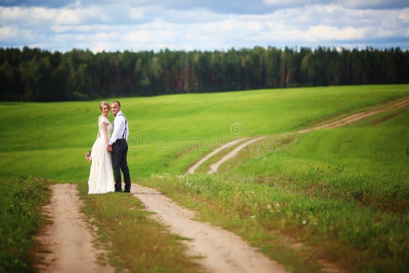 新娘和新郎浪漫夫妇后面看法手拉手走在农村路的  库存照片
