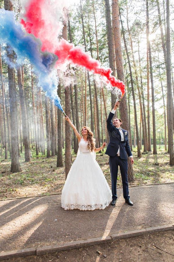 新娘和新郎用烟幕弹在树背景  库存照片