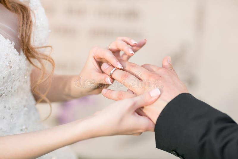 新娘和新郎的婚戒和手 在仪式的年轻婚礼夫妇 婚姻 爱的男人和妇女 两 库存图片