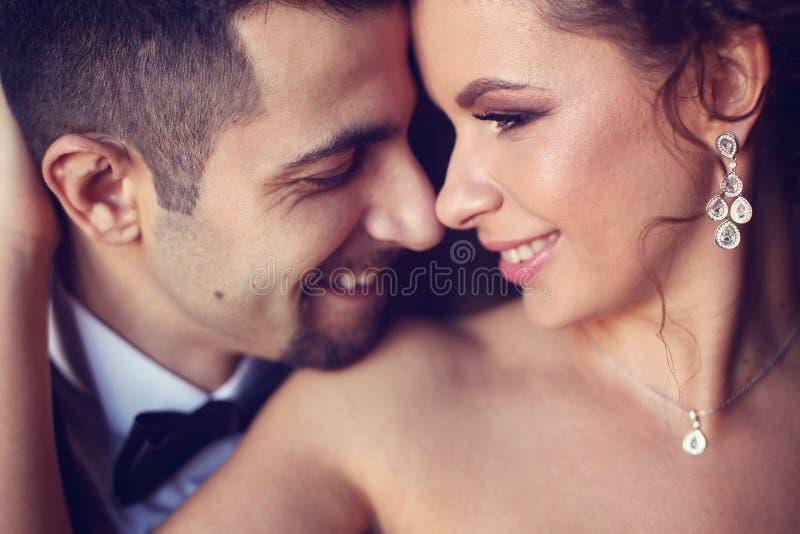 新娘和新郎的纵向 库存照片