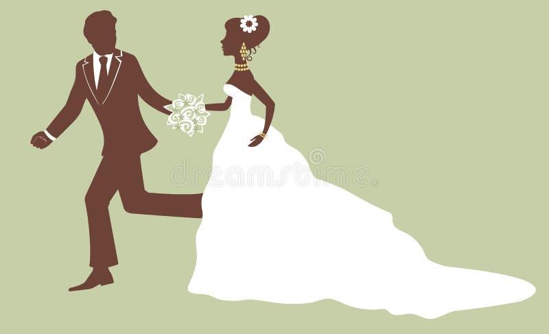新娘和新郎运行中 向量例证