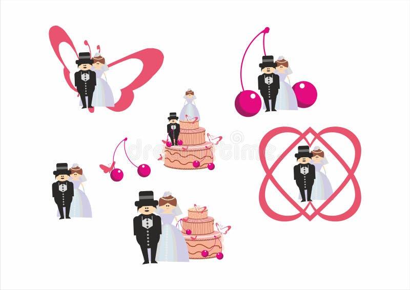 新娘和新郎-婚礼集合 向量例证