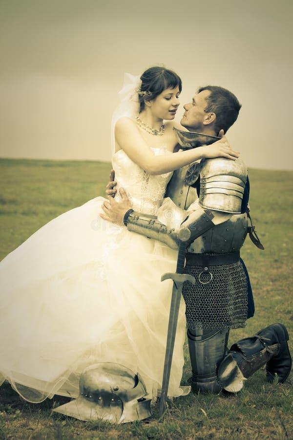 新娘她的骑士爱会议公主 库存照片