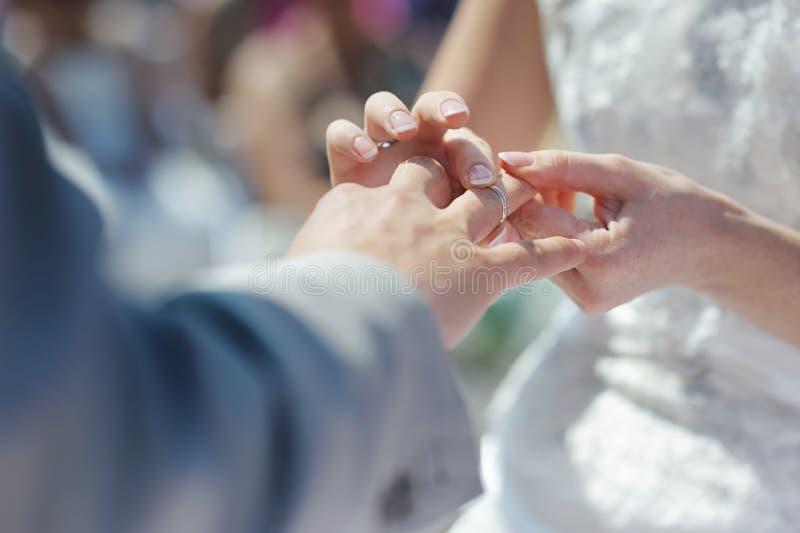 新娘放置环形s的手指新郎 免版税库存图片