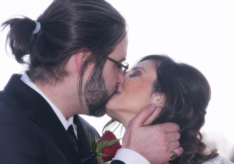 新娘新郎亲吻 图库摄影