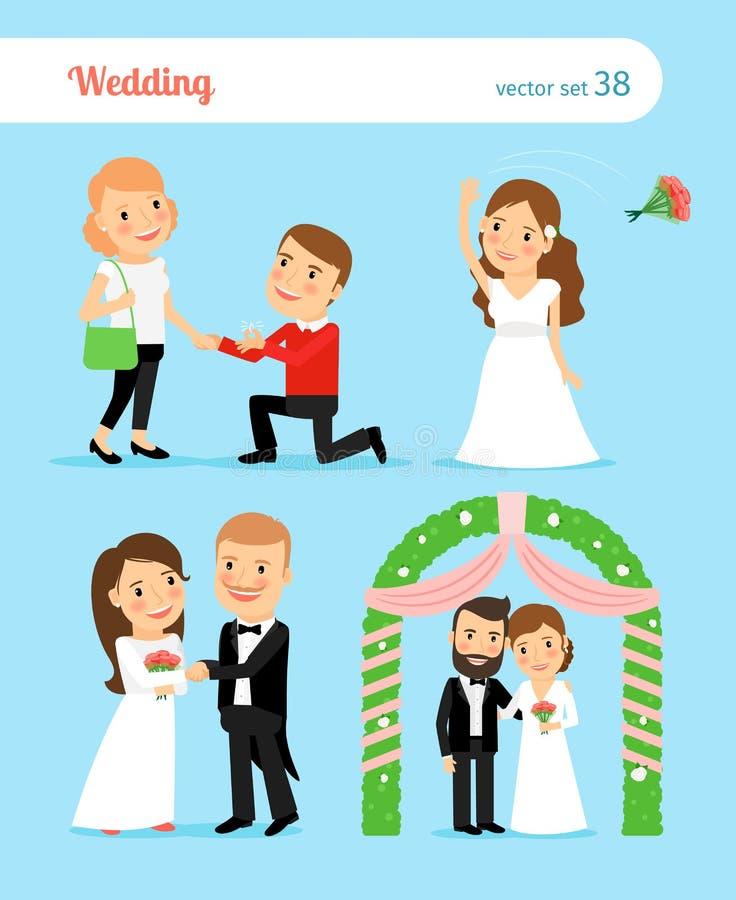 Download 新娘新郎婚姻生动描述婚礼 夫妇婚姻纵向建议年轻人 向量例证. 插画 包括有 brianna, 日期, 幸福 - 62526485