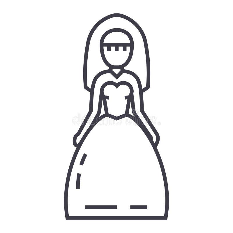 新娘标志传染媒介线象,标志,在背景,编辑可能的冲程的例证 库存例证