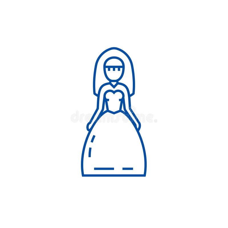 新娘标志线象概念 新娘标志平的传染媒介标志,标志,概述例证 皇族释放例证