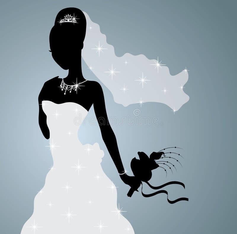 新娘的剪影。 库存例证