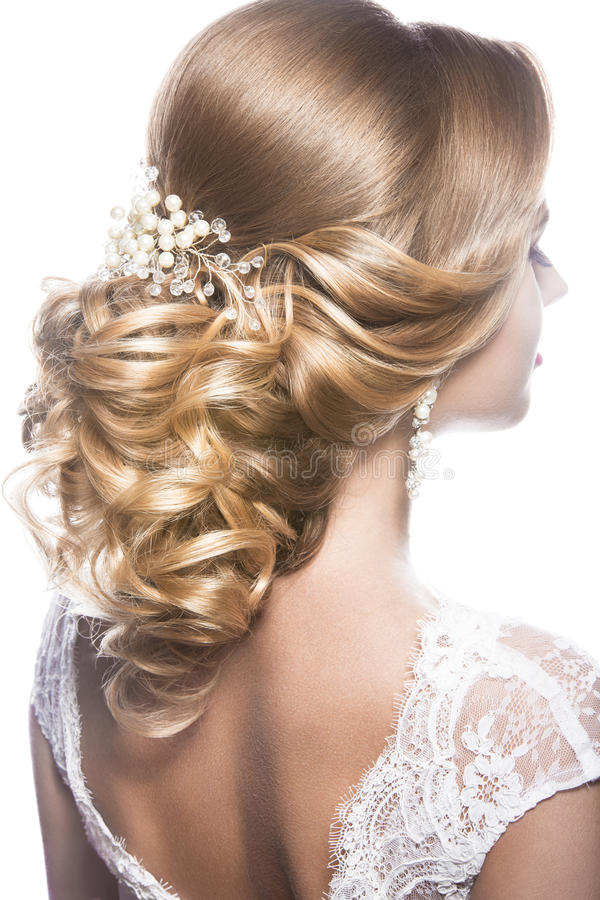 新娘的图象的美丽的妇女 秀丽头发 发型后面视图 库存图片