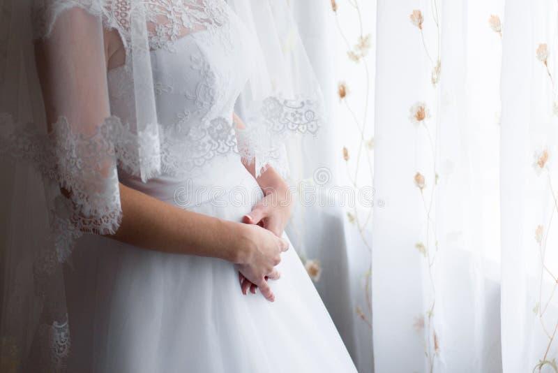 新娘的婚礼礼服 婚礼,新娘` s早晨 库存照片