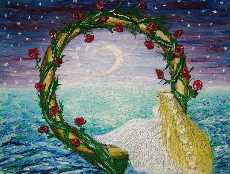 新娘的油画在一棵红色玫瑰色植物围拢的一金黄结婚戒指里面,坐夜的背景 库存例证