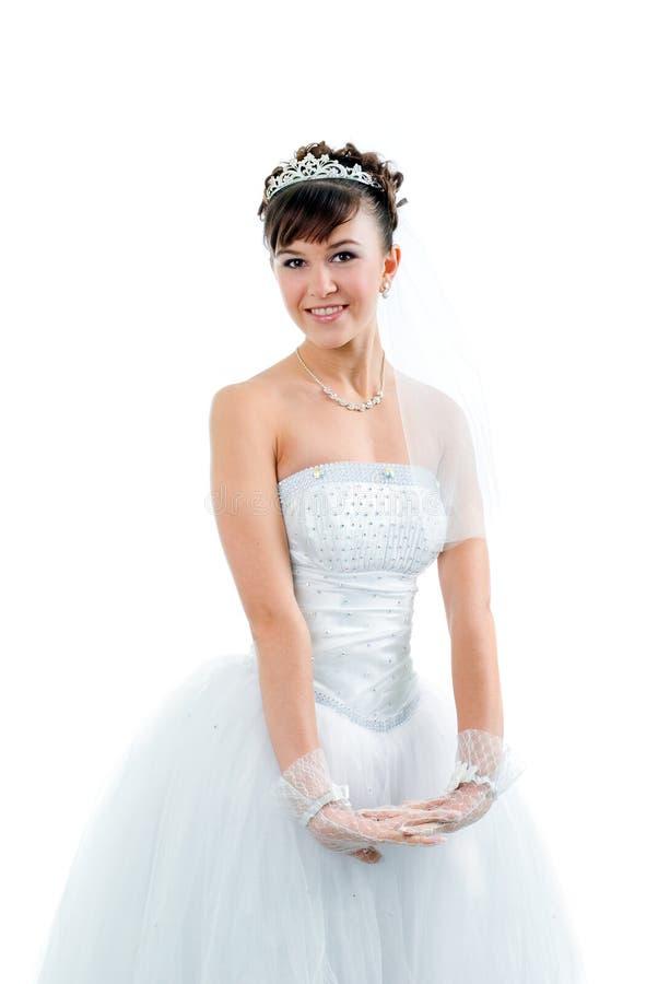 新娘礼服穿戴了高雅婚礼白色 免版税库存图片