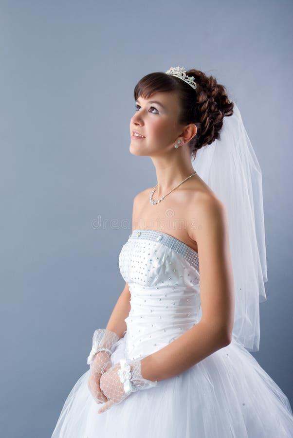 新娘礼服穿戴的高雅婚礼白色 库存图片