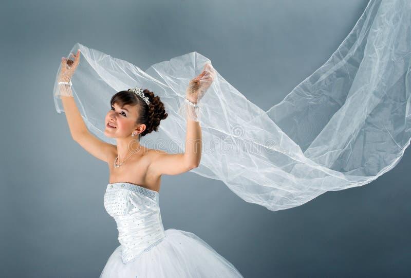 新娘礼服穿戴的高雅婚礼白色 图库摄影