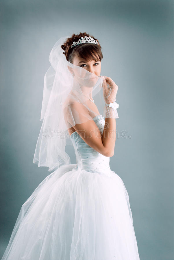 新娘礼服穿戴的高雅婚礼白色 免版税图库摄影