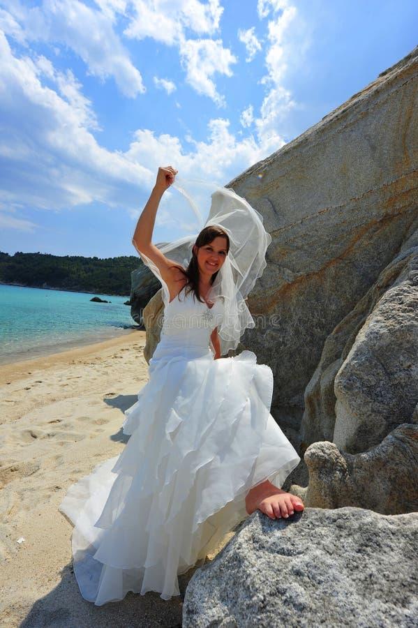 新娘纵向揭幕 免版税图库摄影