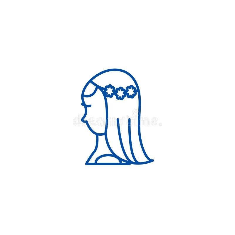 新娘线象概念 新娘平的传染媒介标志,标志,概述例证 向量例证