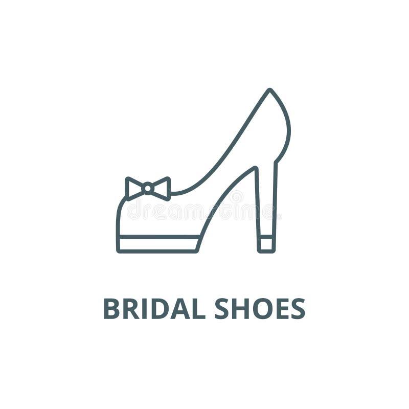 新娘鞋子排行象,传染媒介 新娘鞋子概述标志,概念标志,平的例证 向量例证