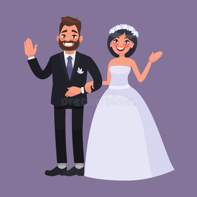 新娘仪式教会新郎婚礼 新婚佳偶欢迎 weddin的优秀元素 向量例证