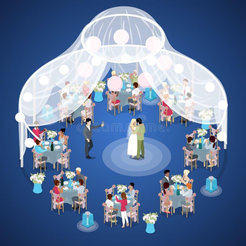 新娘仪式花婚礼 已婚夫妇首先跳舞 等量平的3d例证 向量例证