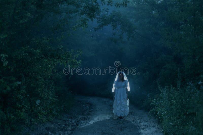 新娘` s鬼魂在夜森林里 库存图片