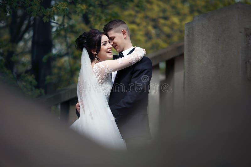 新婚佳偶丈夫和妻子浪漫射击拥抱在老stairc的 免版税库存照片