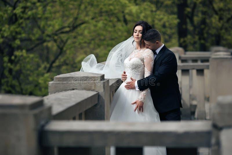新婚佳偶丈夫和妻子浪漫射击拥抱在老stairc的 库存照片