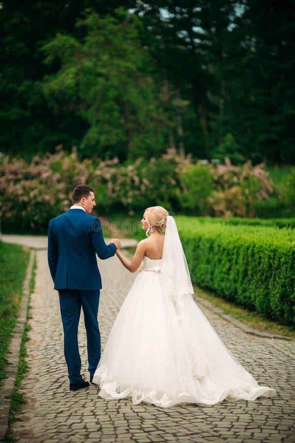 新婚佳偶在公园走在婚礼之日 享用婚礼之日的新娘和新郎 晴朗的天气 免版税库存图片