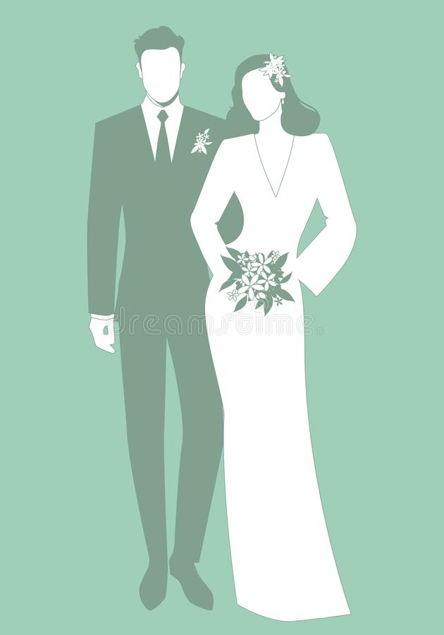 新婚佳偶夫妇佩带的婚姻的衣裳剪影  经典样式 典雅的拿着新娘花束的新郎和美丽的新娘 皇族释放例证