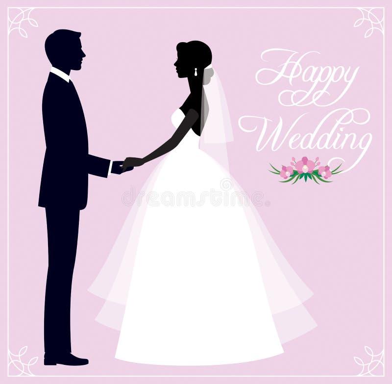 新婚佳偶新郎和新娘一对爱恋的夫妇的剪影我们 皇族释放例证